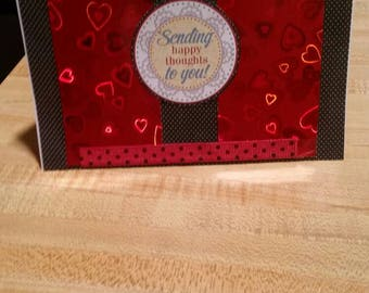 Sending Happy Thoughts To You Love Card with Holograpic Hearts Paper and White Envelope
