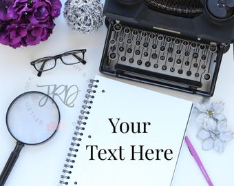 Purple and Black Typewriter Styled Stock Photography Image for Blogs, Branding, Instagram and Pinterest