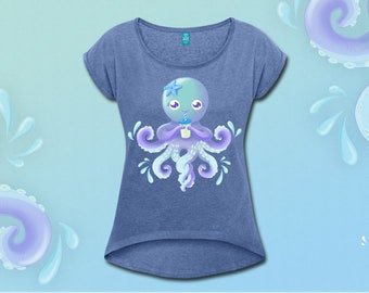 Cropped blue OctoCute boyfriend T-shirt