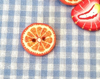 JIM KNOPF polymer clay button Orange