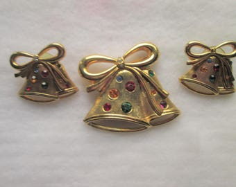 Christmas Brooch and Earring Set