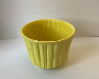 Large McCoy Planter.  Yellow McCoy Flower Pot with Bamboo Design