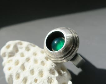 Texture Ring with Green Onyx