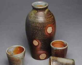 Wood Fired Sake Whiskey Set with Three Cups G98
