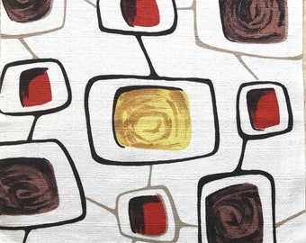 Atomic Barkcloth Fabric Remnant Vintage - 50s Eames Era