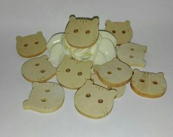 set of 10 CAT buttons wood 2 cm