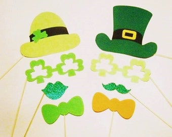 Photo Booth Props 8 pc St Patricks Day Props Holiday Leprechaun Photo Props Glitter Props Photo Booth Props St Patricks Decorations