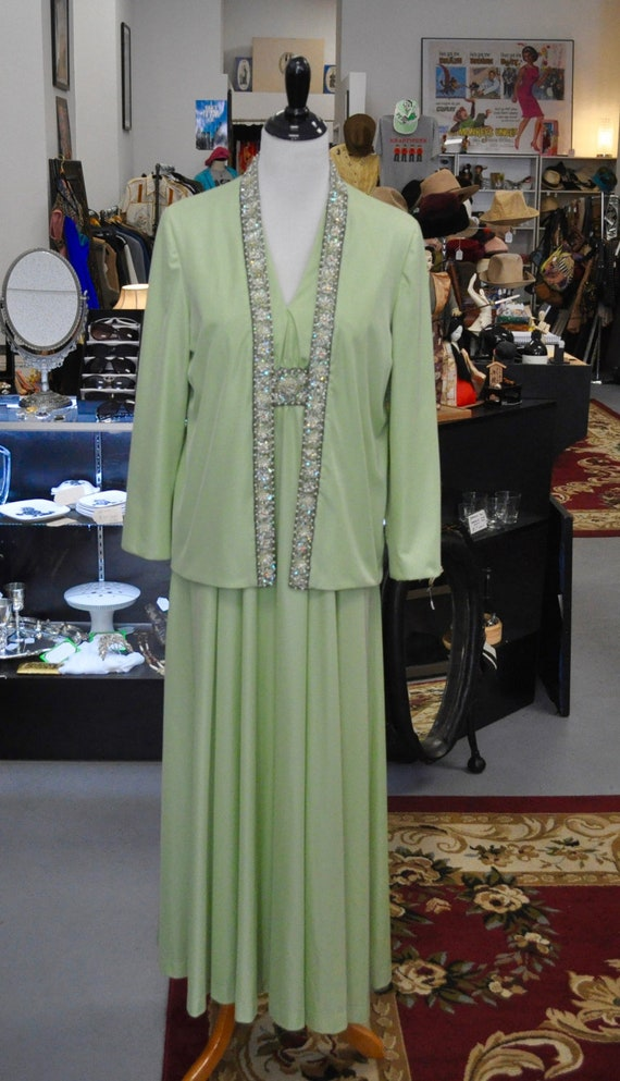 Vintage 1960s Jack Bryan Designed by Depuis Light Green Beaded Gown and Blazer