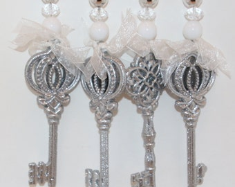Glittered Key Tablecloth Weights Set of 4
