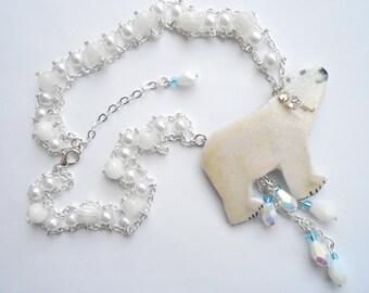 Double chain polar bear & white beads.