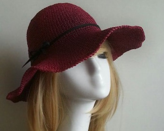 crocheted raffia straw sun hat, wide brim floppy hat with leather bow band,nature / red sun hat