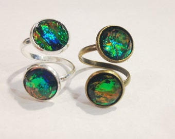 Black Fire Opal Ring, Fire Opal Ring, Dark Opal Ring, Black Opal Ring, Two Stone Ring, Adjustable Ring, Two Opal Ring, Fire Opal Jewelry