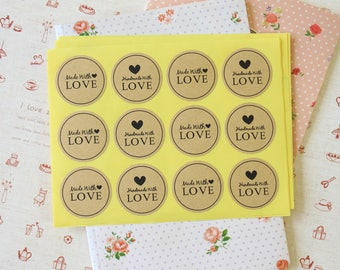 Made With Love Kraft Brown gift sticker labels