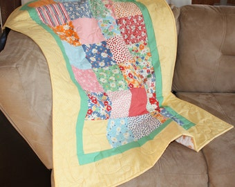 Gender Neutral Baby Quilt, Patchwork Quilt, Blanket, Snippets, Moda, Yellow, Blue, Green