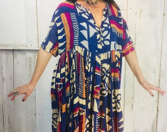 Vintage Indian Gauze Dress//Gauzy Cotton Dress// Bohemian Indian Dress// Cosmic Blue Boho Dress// Ethnic Hippie Gypsy Dress