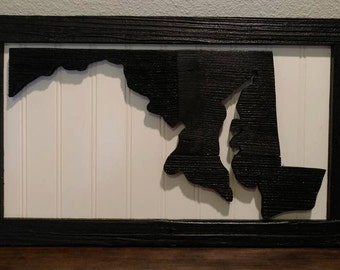 Maryland Wall Art / State Sign / Rustic Wood State Sign / State Cut Out / Wood Sign / Black and white maryland sign