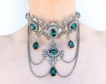 Emerald Gothic Choker Gothic Jewelry Green Swarovski Crystal Bridal Choker Gothic Necklace Victorian Gothic Wedding Jewelry