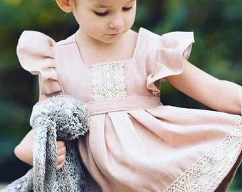 Pink Paneled Flower Pattern Cotton Dress for Toddlers Girls: Size 2,3,4