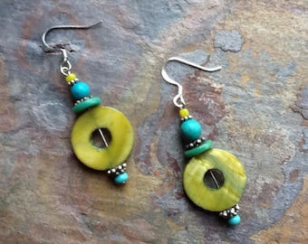 Turquoise and chartreuse Earrings, Blue Green Earrings, Ethnic Earrings, Boho Earrings, Drop Earrings, Chartruese Earrings, Dangle Earrings,