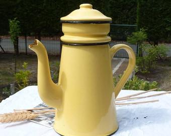 French Vintage Yellow Enamel Coffee / Tea Pot - French Enamelware - Retro Decor - Spring Vintage Finds - Table Decor - Vase