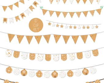 Krafty Christmas Bunting Clip Art Kraft Holiday Banner Printable Instant Download Small Commercial & Personal Use Scrapbooking Card making