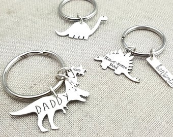 Personalized Gift - Fathers Day Keychain - Father's Day Gift - Dinosaur Keychain - Daddysaurus