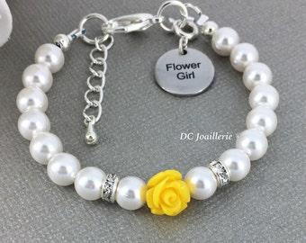 Yellow Flower Bracelet Pearl and Flower Bracelet Swarovski Bracelet Flower Girl Gift Yellow Flower Bracelet Flower Girl Jewelry
