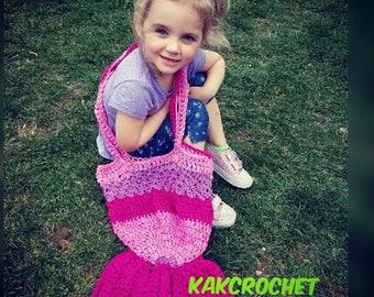 Crochet mermaid tail bag//Mermaid tail tote//Mermaid bags and purses//Kids fashion//Pink ombre mermaid tail bag