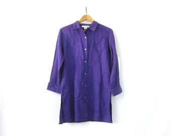 Long Purple Linen Blouse Button Up Linen Shirt Long Sleeve Linen Tunic Top Minimal Slouchy Collar Shirt Vintage 90s Women size 6 Small