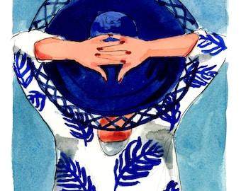 Art Print: Sun Hats and Palms