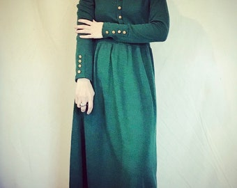 Green Sweater Dress with Buttons