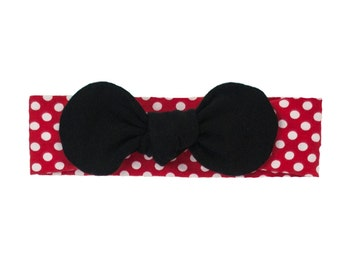 Minnie Mouse Baby Headband, Toddler Headband, Adult Headband, Baby Girl Headband, Top Knot Headband, Bow Headband, Red and White Polka Dot