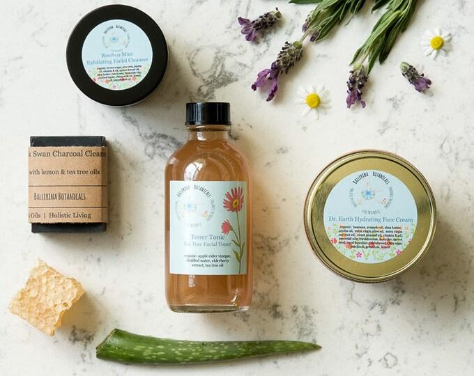 Organic Acne Skincare Set | With Facial Scrub, Acne Toner, Charcoal Soap, &  Face Cream | Acne Care Set | For Acne Treatment and Clear Skin