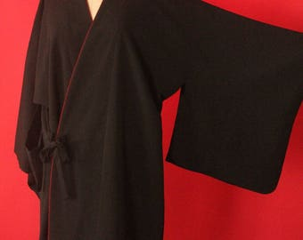 Vintage 60's/70's Handmade Black and Burgundy Silk Crepe Kimono Robe