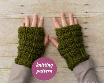 PDF KNITTING PATTERN, Chunky Fingerless Mittens Knitting Pattern, Wrist Warmer Knitting Pattern