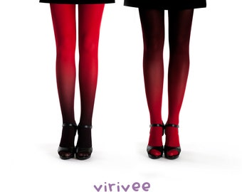 2 ombre tights together / red-black and black red ombre pantyhose