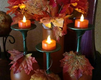 Fall 3 Piece Pumpkin Wineglass Tea Light Set