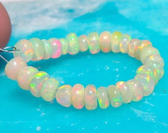 29 Smooth Rondelle Ethiopian FIREY Welo Opal Gemstone Beads 3.5-4.9mm 6.85cts