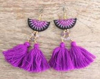 Tassel Earrings. Pom Pom Earrings. Beach Jewelry. Hmong Jewelry. Boho Earrings. Bohemian Earrings. Boho Jewelry. Beaded Earrings.