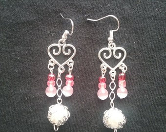 Pink and White Chandelier earrings