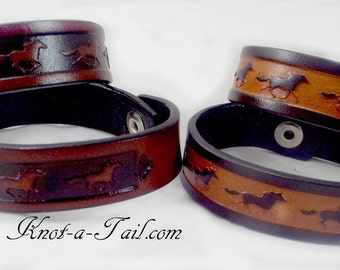 Running horse, leather bracelet, Western bracelet, Cowgirl bracelet, Embossed leather bracelet, snaps-on, Western Accessory, Cowgirl gift
