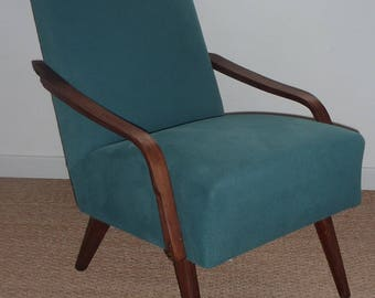 Chair restored vintage peacock blue - green teal - turquoise