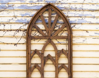 Small Natural Cathedral Window Frame|Metal|Rustic|Reclaimed Wood|Wood Sign|Farmhouse|Vintage|Wood|Antique|Shabby Chic|Primitive|Shutters