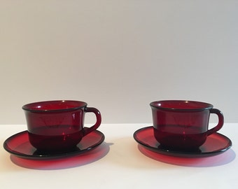 Set of 2 Vintage Arcoroc France red tea cups with saucers