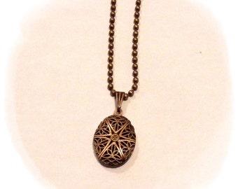 Essential Oil Diffuser Pendant Necklace - Oval Filigree Locket
