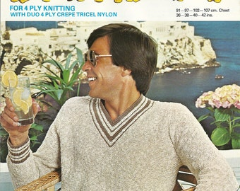 Lee Target K9258 Vintage Knitting Pattern Original Mens V Neck Sweater