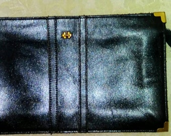 Vintage Dorcelle 1970's Clutch  Black Leather