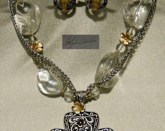 Gold & Sterling Silver Plated Country Glam Crystal Necklace / Earring Set !!    Free Shipping within US