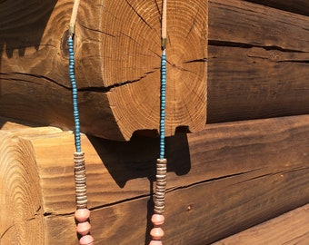 Recycled Leather African Paper Bead Necklace