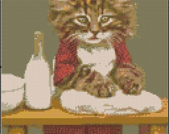 Vintage BAKER KITTY cross stitch pattern No.126